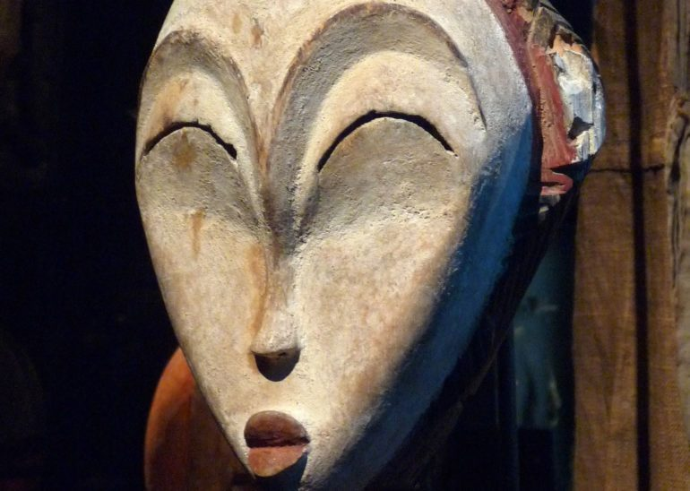 Wooden mask, originally from Gabon, now at Musée du quai Branly