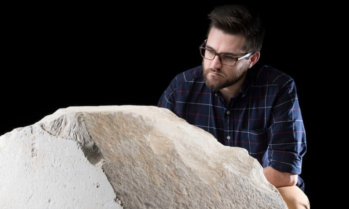 Dr Daniel Potter from the National Museums Scotland with the rare casing stone from the Great Pyramid of Giza