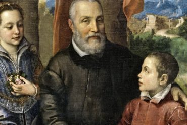 Portrait Group with the Artist's Father Amilcare Anguissola, Brother Astrubale and Sister Minerva - Sofonisba Anguissola (Ca. 1559)