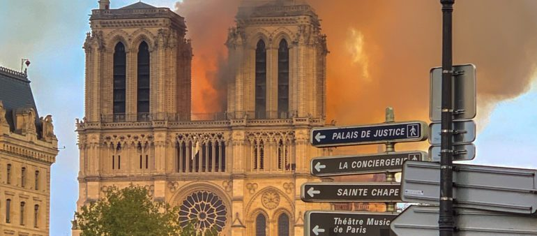 Last year's fire destroyed the roof and spire of Notre-Dame.