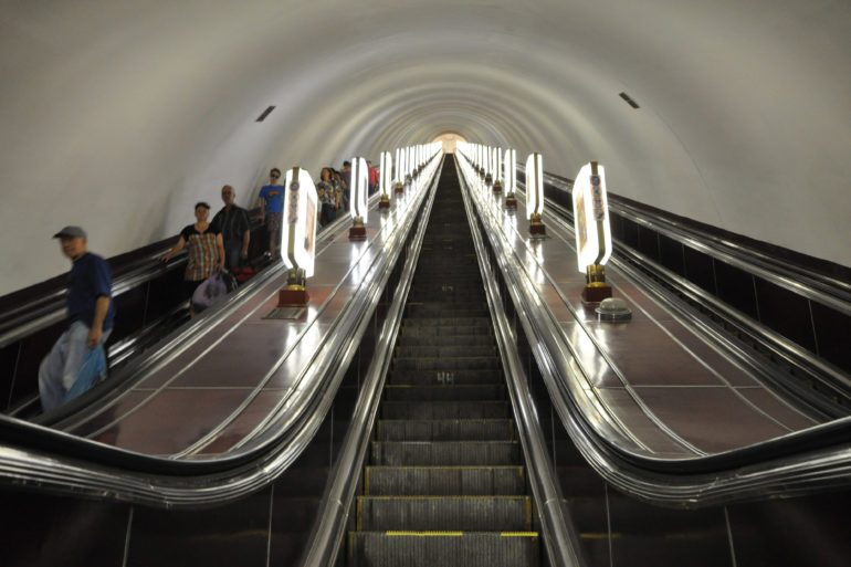 Built in the Soviet era, Kiev's Arsenalna metro station is the deepest in the world