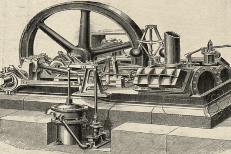 Engineering: a steam traction engine, and a stationary steam engine. - Engraving c.1861. Wellcome Collection United Kingdom