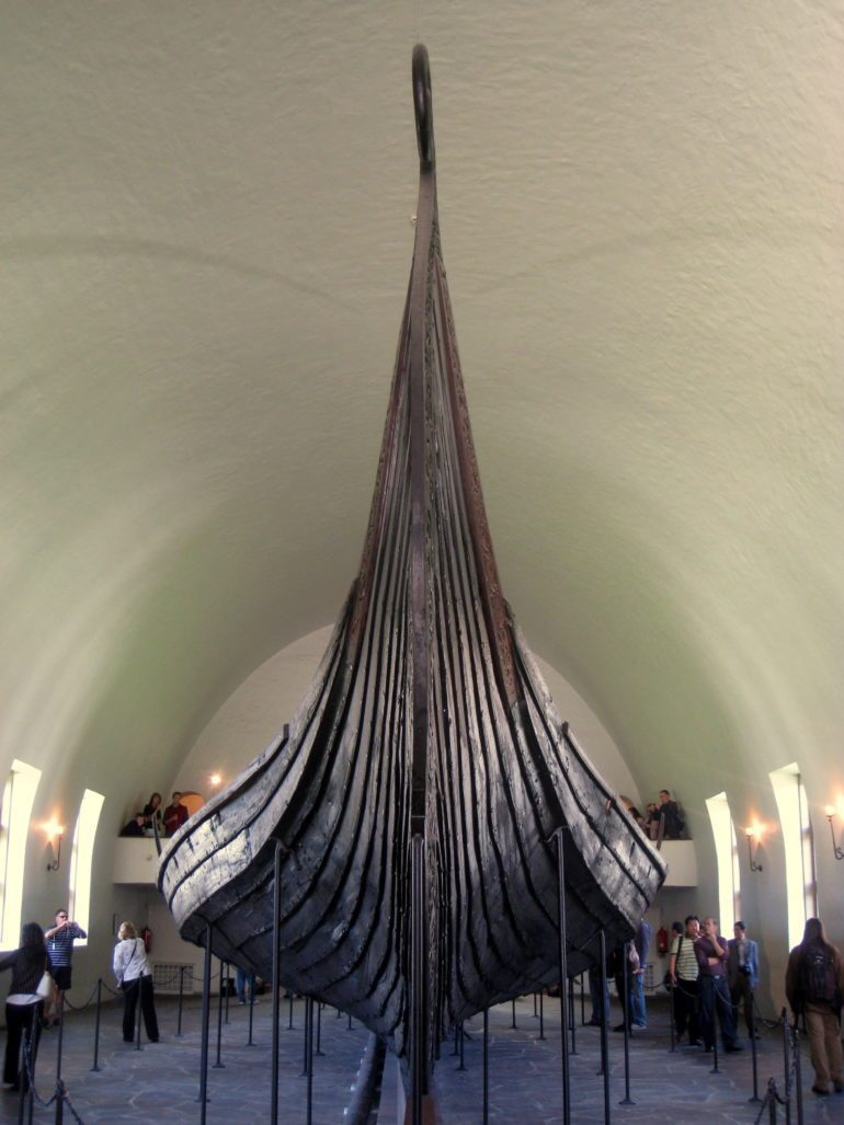 Oseberg ship, a similar Viking burial boat from Norway