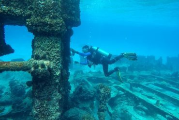 Scientific archaeological diving to measure shipwreck engine