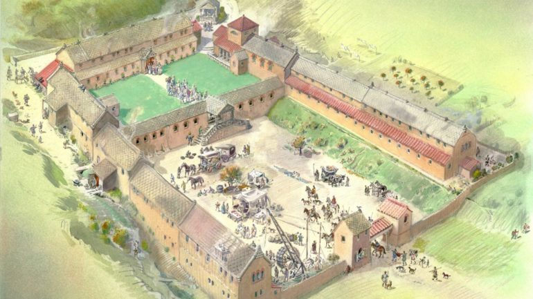 A reconstruction of Chedworth Roman Villa in the 4th Century