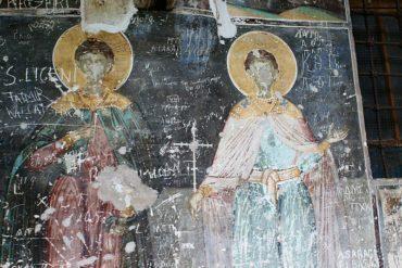 A fresco in Voskopojë, Albania