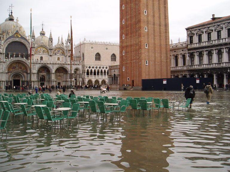 Acqua alta floods in Piazza San Marco.