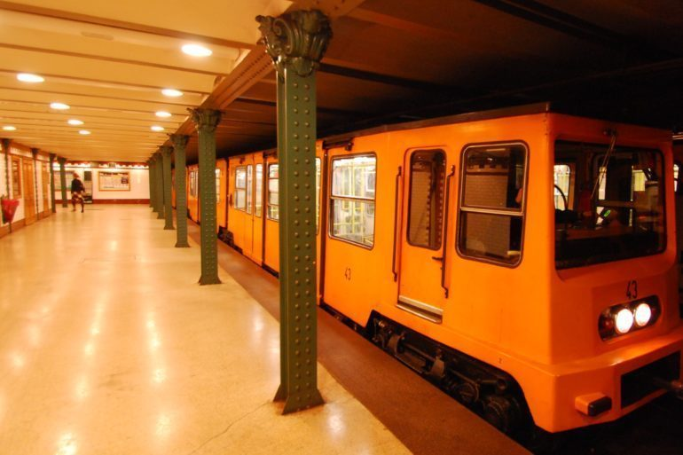 The oldest metro line in Budapest (M1). The last station at Vörösmarty square.