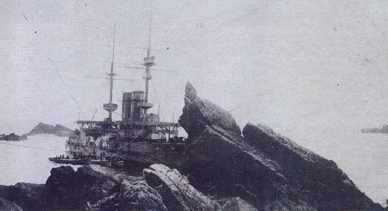 HMS Montagu Aground Lundy Island