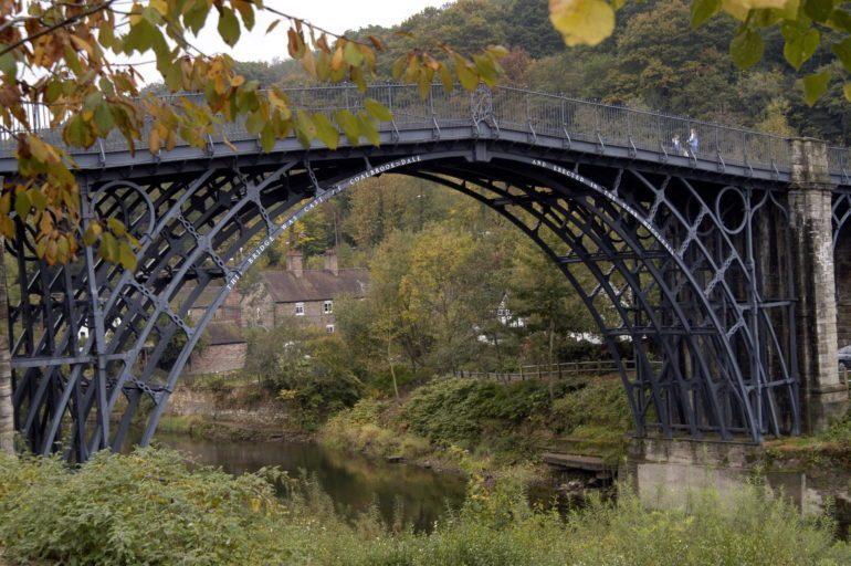 Full frame image of The Iron Bridge, Ironbridge, England