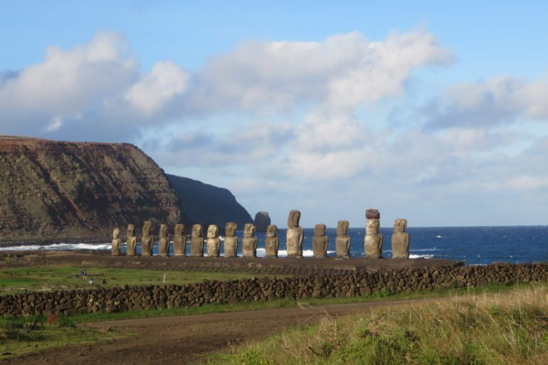 Rapa Nui's ancient moai statues are at risk of being toppled by rising sea levels.