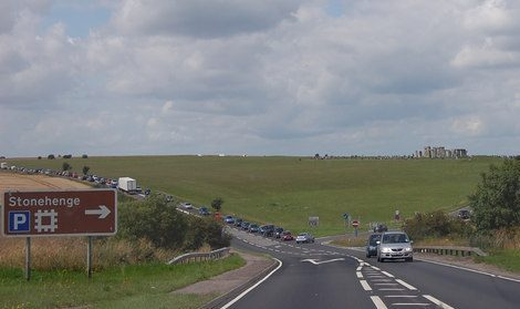 Highway junction of A303 and A344 with the World Heritage Site in the background.