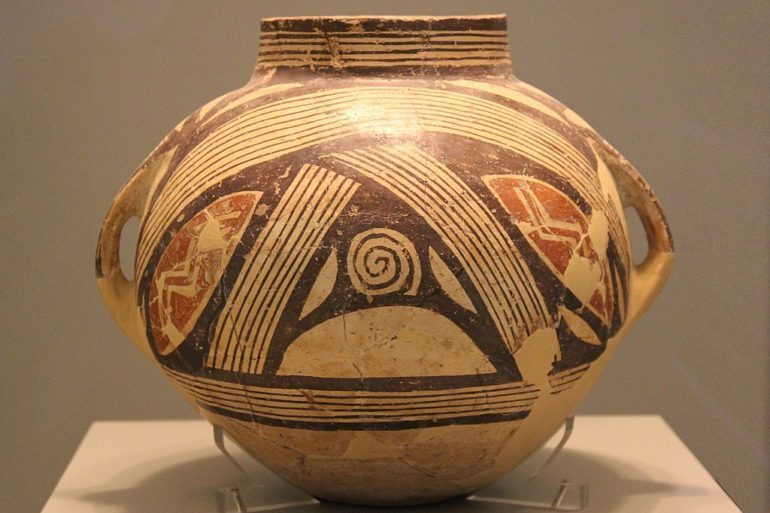 Greek Neolithic pottery with polychrome decoration for representational purposes.