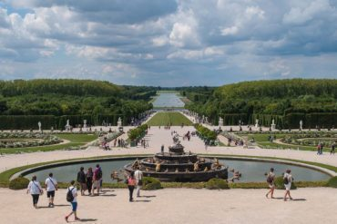 View of the garden from the central window of the Hall of Mirrors, Château de Versailles.