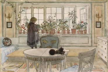Flowers on the Windowsill. From A Home (26 watercolours) by Carl Larsson.