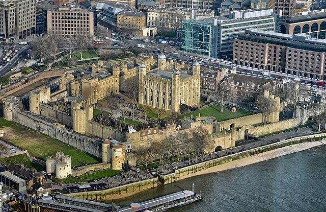 The Tower of London from an aerial view.