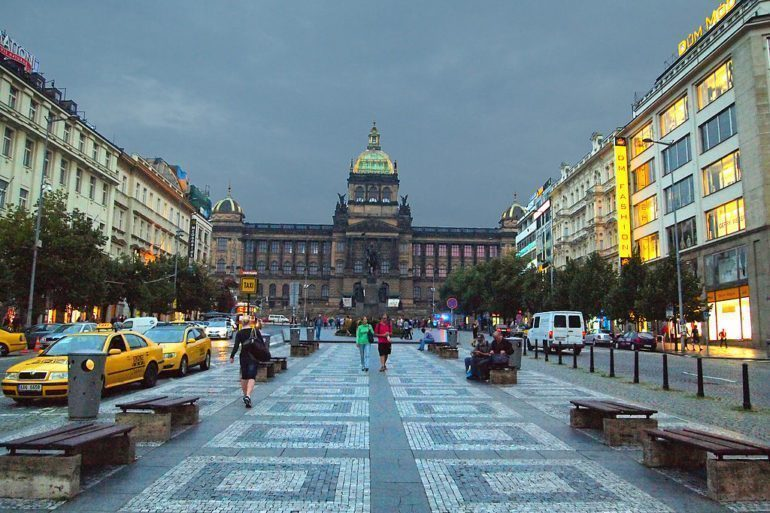 View of Wenceslas Square in Prague.