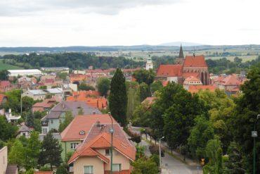 Aerial view of Ziebice, Poland.