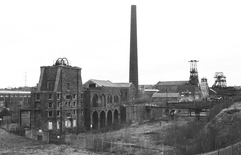 View of Chatterley Whitfield Colliery, England.