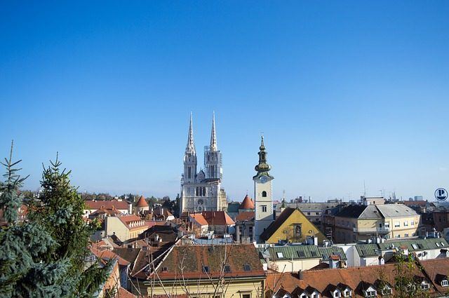Skyline of Zagreb with the cathedral.