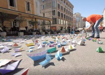 The colourful paper boats in Rijeka, Croatia