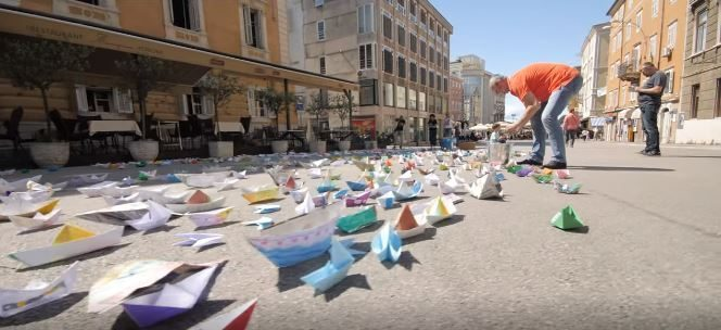 The colourful paper boats in Rijeka, Croatia