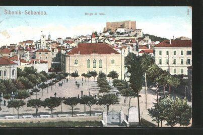 The Poljana square with the National Theatre in Šibenik, Croatia, in 1907