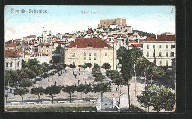 The Poljana square with the National Theatre in Šibenik, Croatia, in 1907