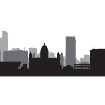 A graphic of the iconic skyline of Liverpool with the Radio CIty Tower at the right corner.