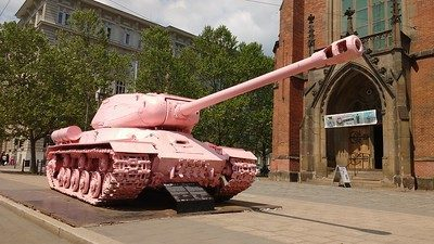 Pink Tank , a Soviet monument commemorating Liberation after World War II was painted pink to symbol liberation from Soviet troops in 1991 by David Cerny.