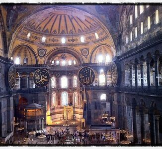 A view of the interiors in Hagia Sophia, Istanbul.