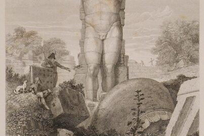 A 19th Century interpretation of Atlas Statue at the Zeus Temple.