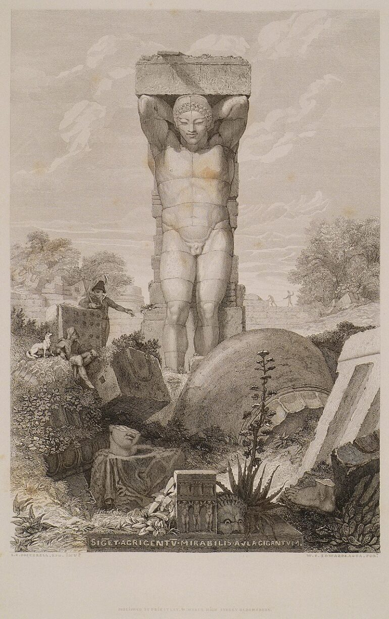 A 19th Century interpretation of Atlas Statue at the Zeus Temple.