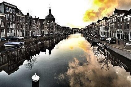 Sunset in Leiden, the Netherlands