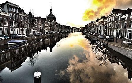 Sunset in Leiden, the Netherlands