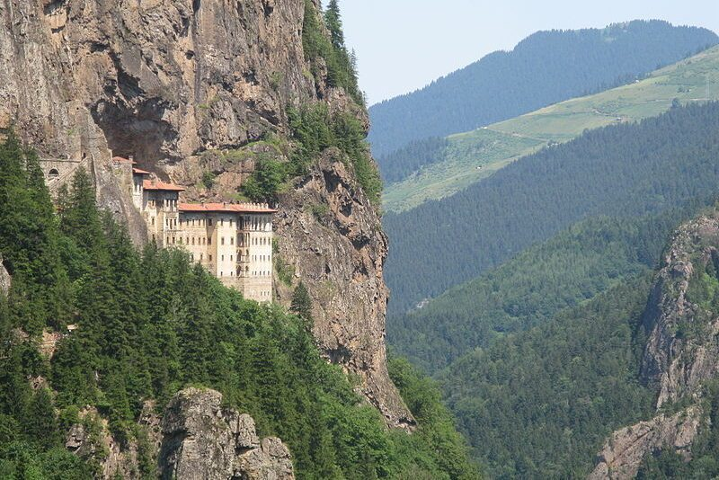View from the road, Sumela Monastery on the Black Sea.