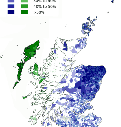 The proportion of respondents in the 2011 census aged 3 and above who stated that they can speak either Scots or Scottish Gaelic.