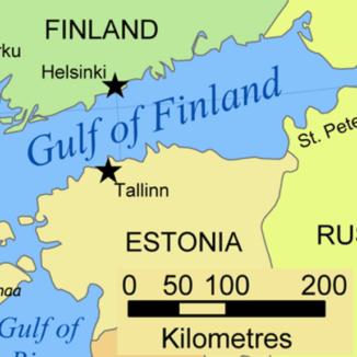 Mappa politica del Golfo di Finlandia.