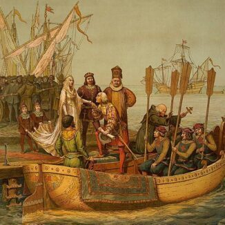 First Voyage of Columbus. 'Departure for the New World', Columbus bids farewell to Queen Isabella and King Ferdinand.