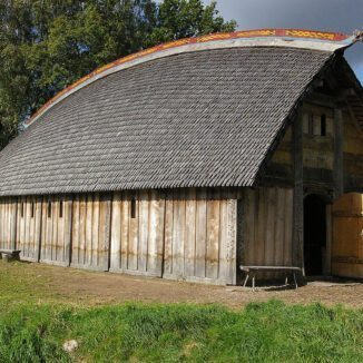 Example of a Viking longhouse in Sweden.