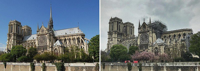 Notre Dame before and after restoration.