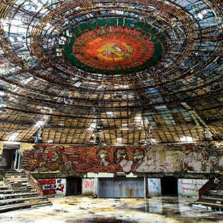 Interior view of the Buzludzha Peak Monument.