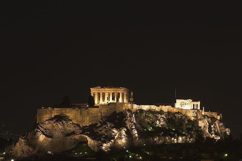 Parthenon in Acropolis at night, Athens.