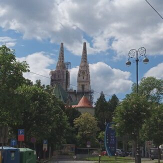 Zagreb Cathedral lacking a spire after the earthquake