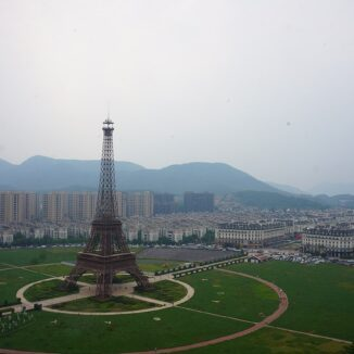 Eiffel Tower replica overlooking Tianducheng, China..