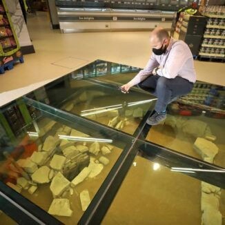 Lidl merchandising Manager Colm Kelly observing the remains through the glass pane.