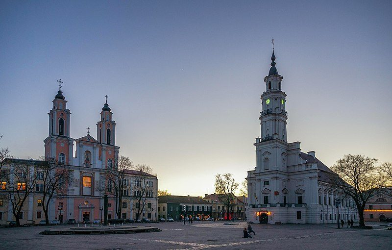 Church of St. Francis Xavier and Kaunas Town Hall.