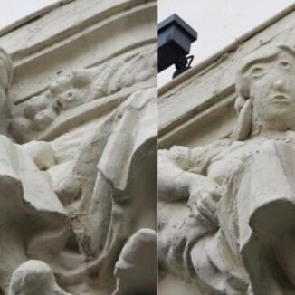 The statue before and after the restoration.