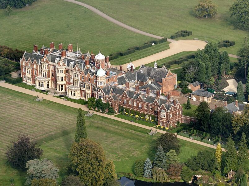 Sandringham House, the residence of the Queen of England.