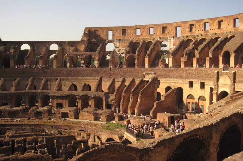 The Colosseum in Rome, seen from the interior
